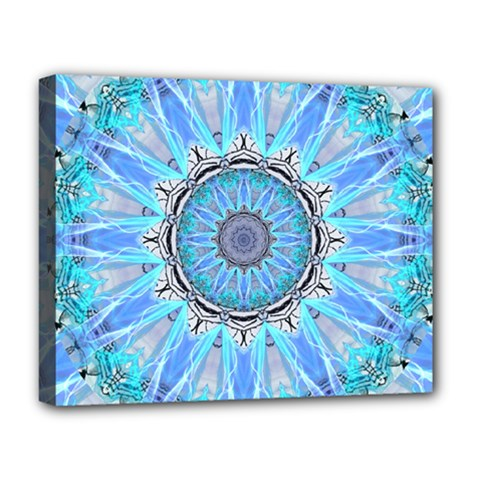 Sapphire Ice Flame, Light Bright Crystal Wheel Deluxe Canvas 20  X 16   by DianeClancy