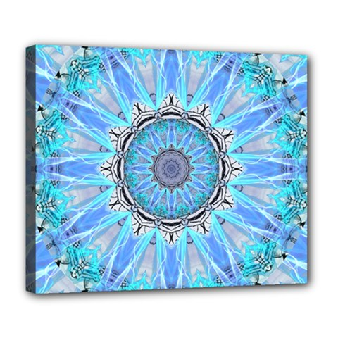 Sapphire Ice Flame, Light Bright Crystal Wheel Deluxe Canvas 24  X 20   by DianeClancy