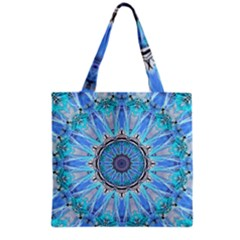 Sapphire Ice Flame, Light Bright Crystal Wheel Grocery Tote Bag by DianeClancy