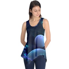 The Music Of My Goddess, Abstract Cyan Mystery Planet Sleeveless Tunic by DianeClancy