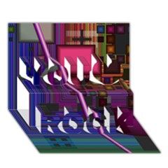 Jewel City, Radiant Rainbow Abstract Urban You Rock 3d Greeting Card (7x5)  by DianeClancy