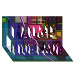 Jewel City, Radiant Rainbow Abstract Urban Laugh Live Love 3d Greeting Card (8x4)  by DianeClancy