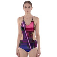Jewel City, Radiant Rainbow Abstract Urban Cut-Out One Piece Swimsuit