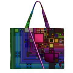 Jewel City, Radiant Rainbow Abstract Urban Zipper Large Tote Bag by DianeClancy