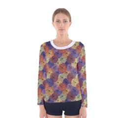 Vintage Floral Collage Print Women s Long Sleeve Tee by dflcprintsclothing