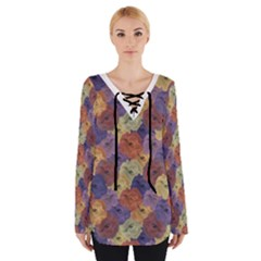 Vintage Floral Collage Print Women s Tie Up Tee by dflcprintsclothing