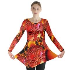 Flame Delights, Abstract Red Orange Long Sleeve Tunic  by DianeClancy