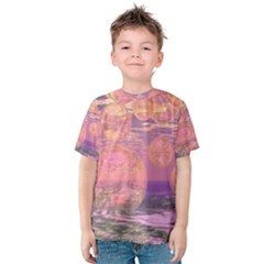 Glorious Skies, Abstract Pink And Yellow Dream Kid s Cotton Tee by DianeClancy