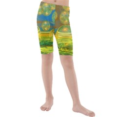 Golden Days, Abstract Yellow Azure Tranquility Kid s Mid Length Swim Shorts by DianeClancy