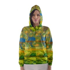 Golden Days, Abstract Yellow Azure Tranquility Hooded Wind Breaker (women) by DianeClancy