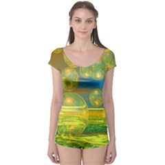 Golden Days, Abstract Yellow Azure Tranquility Boyleg Leotard (ladies) by DianeClancy