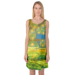 Golden Days, Abstract Yellow Azure Tranquility Sleeveless Satin Nightdress by DianeClancy