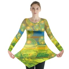 Golden Days, Abstract Yellow Azure Tranquility Long Sleeve Tunic  by DianeClancy