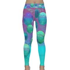 Ocean Dreams, Abstract Aqua Violet Ocean Fantasy Yoga Leggings by DianeClancy