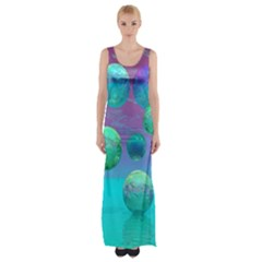 Ocean Dreams, Abstract Aqua Violet Ocean Fantasy Maxi Thigh Split Dress by DianeClancy