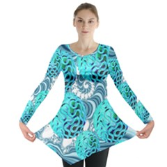 Teal Sea Forest, Abstract Underwater Ocean Long Sleeve Tunic  by DianeClancy
