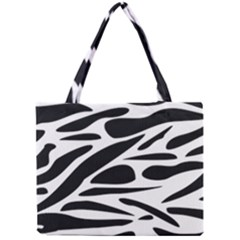 Zebra Stripes Skin Pattern Black And White Mini Tote Bag by CircusValleyMall