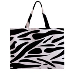 Zebra Stripes Skin Pattern Black And White Zipper Mini Tote Bag by CircusValleyMall