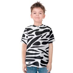Zebra Stripes Skin Pattern Black And White Kid s Cotton Tee by CircusValleyMall