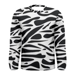 Zebra Stripes Skin Pattern Black And White Men s Long Sleeve Tee by CircusValleyMall