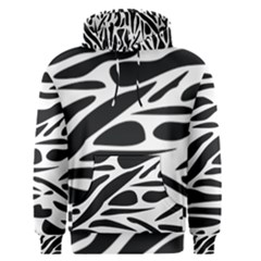 Zebra Stripes Skin Pattern Black And White Men s Pullover Hoodie by CircusValleyMall