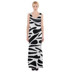 Zebra Stripes Skin Pattern Black And White Maxi Thigh Split Dress by CircusValleyMall