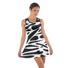 Zebra Stripes Skin Pattern Black And White Racerback Dresses by CircusValleyMall