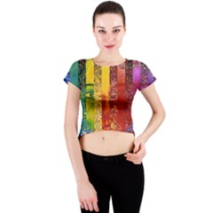 Conundrum I, Abstract Rainbow Woman Goddess  Crew Neck Crop Top by DianeClancy