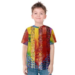 Conundrum I, Abstract Rainbow Woman Goddess  Kid s Cotton Tee by DianeClancy