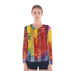 Conundrum I, Abstract Rainbow Woman Goddess  Women s Long Sleeve Tee by DianeClancy