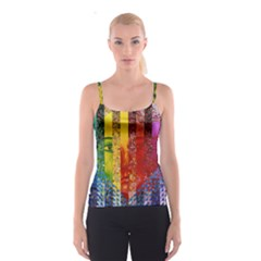 Conundrum I, Abstract Rainbow Woman Goddess  Spaghetti Strap Top by DianeClancy