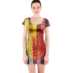 Conundrum I, Abstract Rainbow Woman Goddess  Short Sleeve Bodycon Dress by DianeClancy