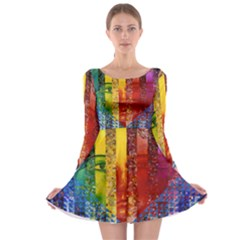 Conundrum I, Abstract Rainbow Woman Goddess  Long Sleeve Skater Dress by DianeClancy