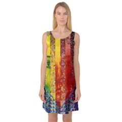 Conundrum I, Abstract Rainbow Woman Goddess  Sleeveless Satin Nightdress by DianeClancy