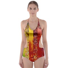 Conundrum I, Abstract Rainbow Woman Goddess  Cut-Out One Piece Swimsuit by DianeClancy