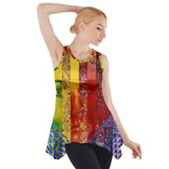 Conundrum I, Abstract Rainbow Woman Goddess  Side Drop Tank Tunic by DianeClancy