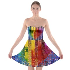 Conundrum I, Abstract Rainbow Woman Goddess  Strapless Dresses by DianeClancy