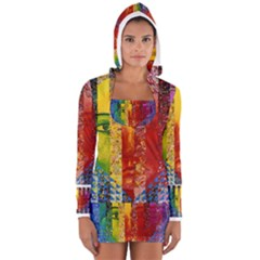 Conundrum I, Abstract Rainbow Woman Goddess  Women s Long Sleeve Hooded T Shirt by DianeClancy