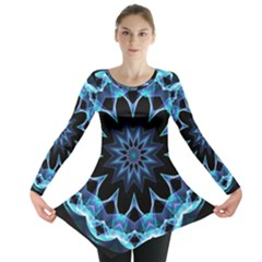 Crystal Star, Abstract Glowing Blue Mandala Long Sleeve Tunic  by DianeClancy