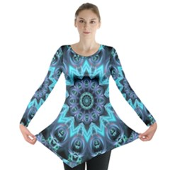 Star Connection, Abstract Cosmic Constellation Long Sleeve Tunic  by DianeClancy
