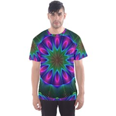 Star Of Leaves, Abstract Magenta Green Forest Men s Sport Mesh Tee by DianeClancy