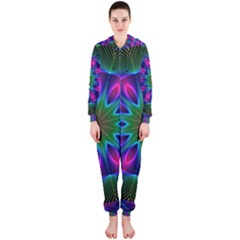 Star Of Leaves, Abstract Magenta Green Forest Hooded Jumpsuit (ladies)  by DianeClancy