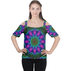Star Of Leaves, Abstract Magenta Green Forest Women s Cutout Shoulder Tee by DianeClancy