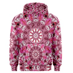 Twirling Pink, Abstract Candy Lace Jewels Mandala  Men s Pullover Hoodie by DianeClancy