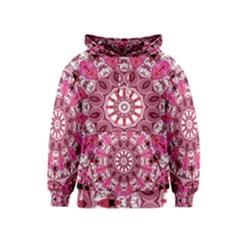 Twirling Pink, Abstract Candy Lace Jewels Mandala  Kids  Pullover Hoodie by DianeClancy