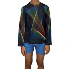 Abstract Rainbow Lily, Colorful Mystical Flower  Kid s Long Sleeve Swimwear by DianeClancy