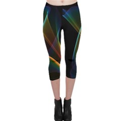 Abstract Rainbow Lily, Colorful Mystical Flower  Capri Leggings  by DianeClancy