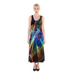 Aurora Ribbons, Abstract Rainbow Veils  Full Print Maxi Dress