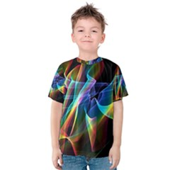 Aurora Ribbons, Abstract Rainbow Veils  Kid s Cotton Tee by DianeClancy