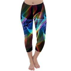 Aurora Ribbons, Abstract Rainbow Veils  Capri Winter Leggings  by DianeClancy